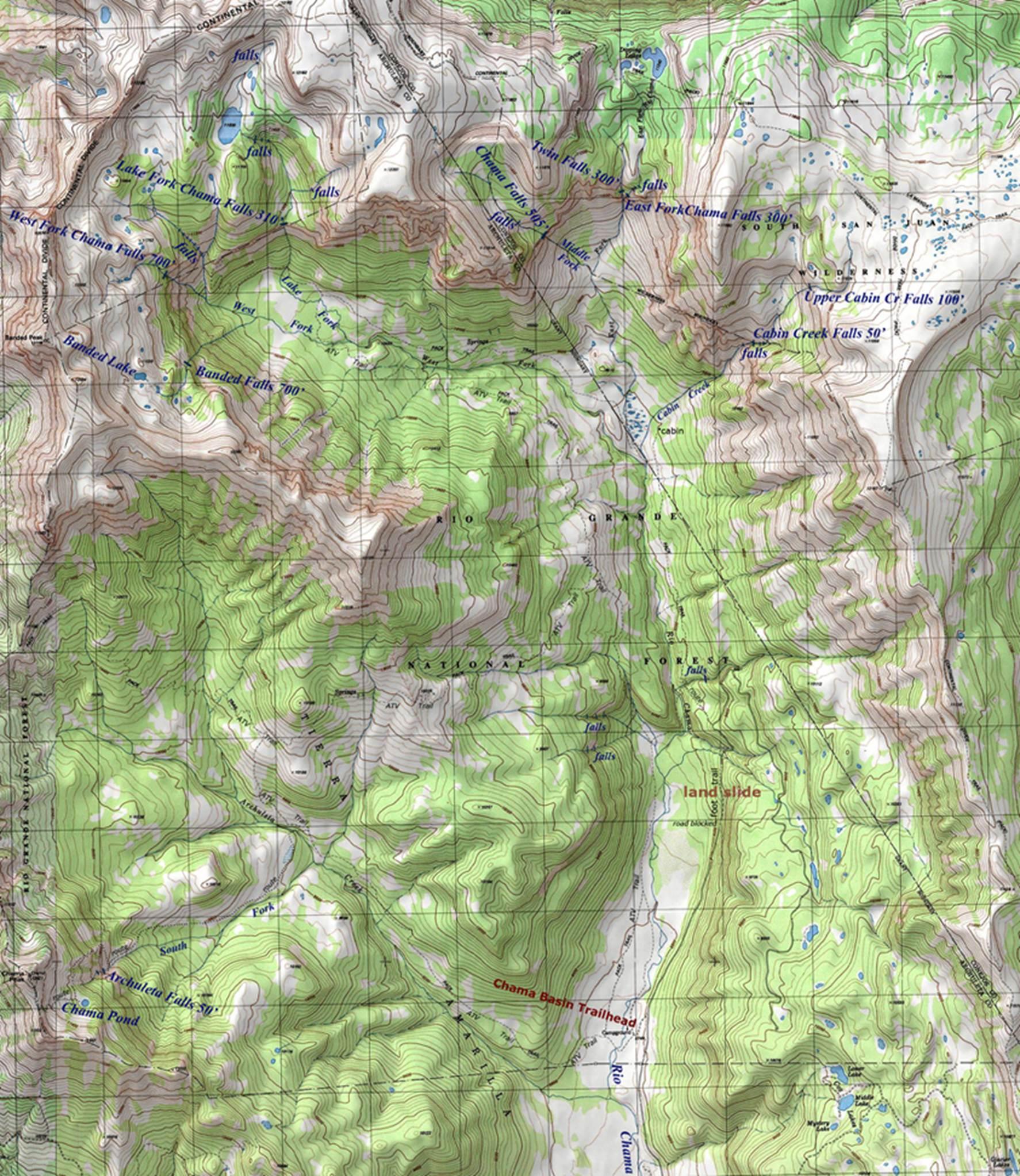 Chama Falls DougScottArtcom - Colorado waterfalls map